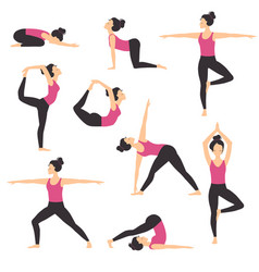 girl practicing various yoga positions set slim vector image