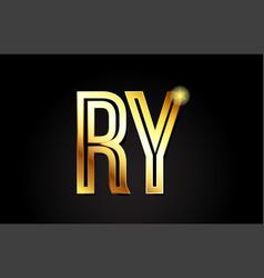 Gold alphabet letter ry r y logo combination icon vector