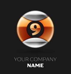 golden number nine logo in silver-golden circle vector image