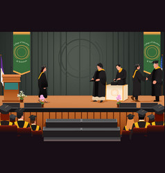 Graduation girl at podium vector
