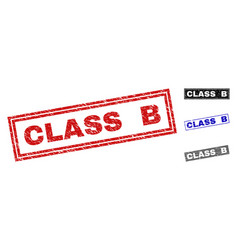 grunge class b textured rectangle stamps vector image