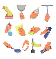 Hands with cleaning tools and means cleaning and vector