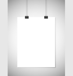 Hanging white paper against gray background vector