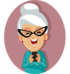 Happy senior old woman holding a smartphone vector