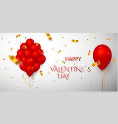 happy valentines day red balloon on white vector image