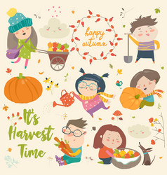 harvesting set with kids fruit and vegetables vector image
