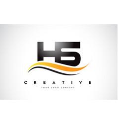 Hs h s swoosh letter logo design with modern vector