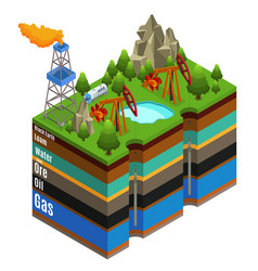 isometric gas extraction concept vector image