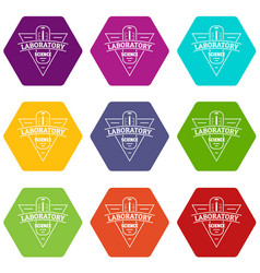 laboratory icons set 9 vector image