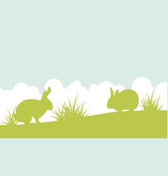 landscape of easter bunny on hill vector image