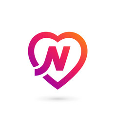 letter n heart logo icon design template elements vector image