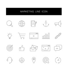 line icons set marketing pack vector image