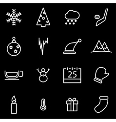 line winter icon set vector image