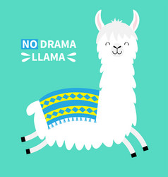 Llama alpaca running jumping no drama cute vector