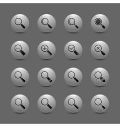 Magnify lens icon set vector image