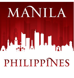 Manila philippines city skyline silhouette red vector