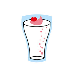 milkshake with cream in glass strawberry drink vector image