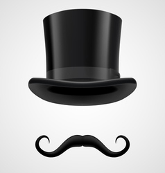 moustaches and stovepipe hat magician vector image