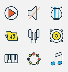 Music colored outlines set collection of template vector