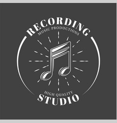 music label isolated on black background vector image