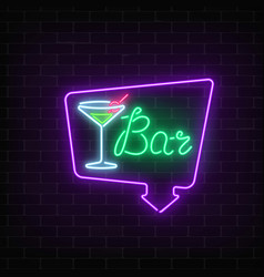 Neon cocktails bar or cafe sign in frame with vector