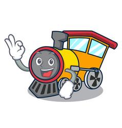 Okay train character cartoon style vector