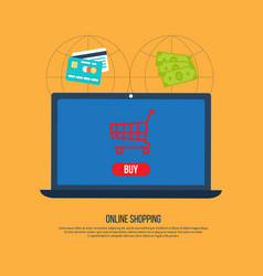 online shopping concept with open laptop vector image