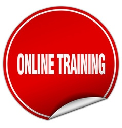 Online training round red sticker isolated on vector