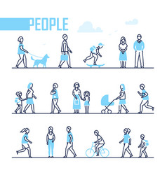 people - set of line design style characters vector image