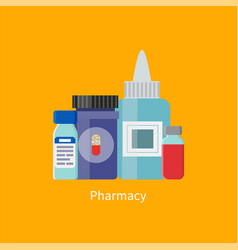 Pharmacy containers medication vector