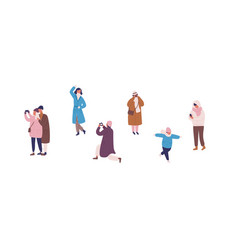 photographing people in warm clothes flat vector image