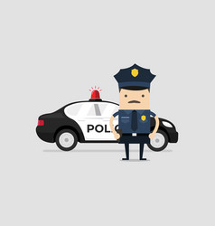 policeman officer in uniform with police car vector image