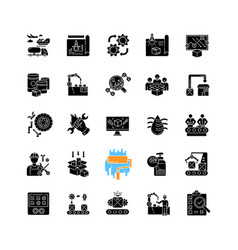 Production process black glyph icons set on white vector
