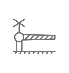 Railroad crossing with barrier security gate line vector