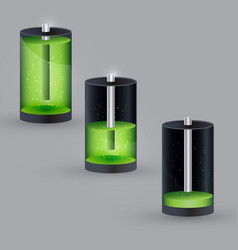 realistic 3d battery icons set vector image