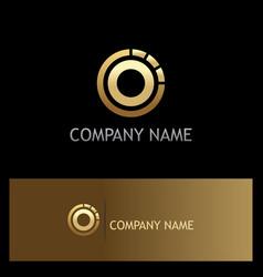 round gold ring target logo vector image