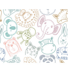 seamless pattern with cute animal heads endless vector image