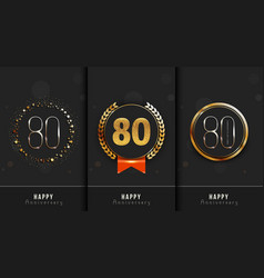 Set of 80th happy anniversary cards template vector