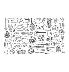 set of camping icons in the style of hand-drawn vector image