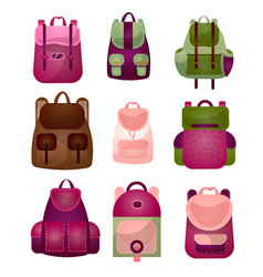 set of modern fashionable backpacks for young vector image