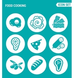 set of round icons white Food cooking egg vector image