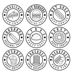set of vintage labels of food vector image