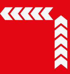 set of white arrows on red background vector image