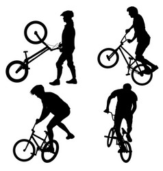 set silhouette of a cyclist male on white vector image