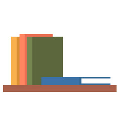 shelf with stack colorful books on wall vector image