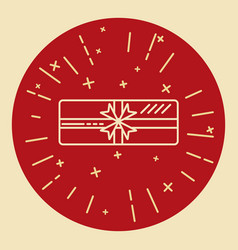 shining gift box icon in thin line style vector image