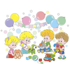 Small children playing colorful soft toys vector