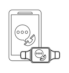 smartphone and smartwatch in black and white vector image