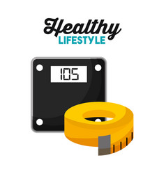 sport weight scale and tape measure healthy vector image