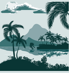 Tropical landscape view from the shore with palm vector